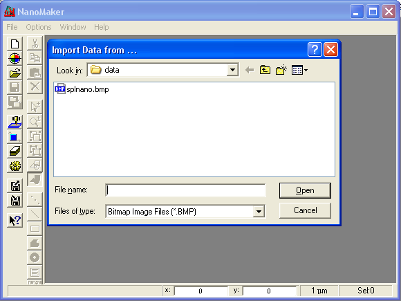 Browse and open the splnano.bmp file
